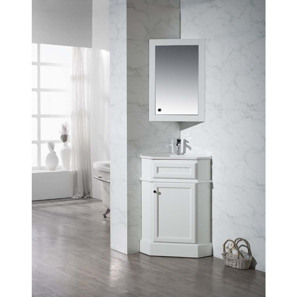 stufurhome hampton white 26 5 inch corner bathroom vanity on bathroom vanity cabinets clearance id=26167