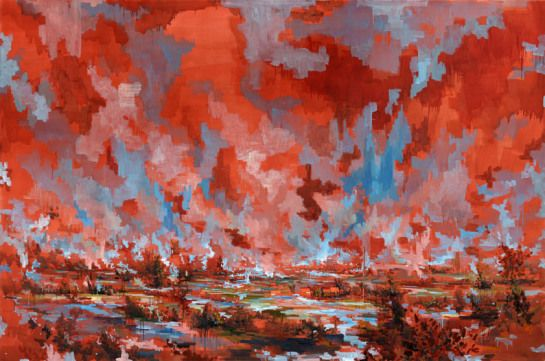 David Schnell morgen, 2012 Oil on canvas 240 x 360 cm courtesy Galerie EIGEN + ART Leipzig/Berlin Photo: Uwe Walter, Berlin