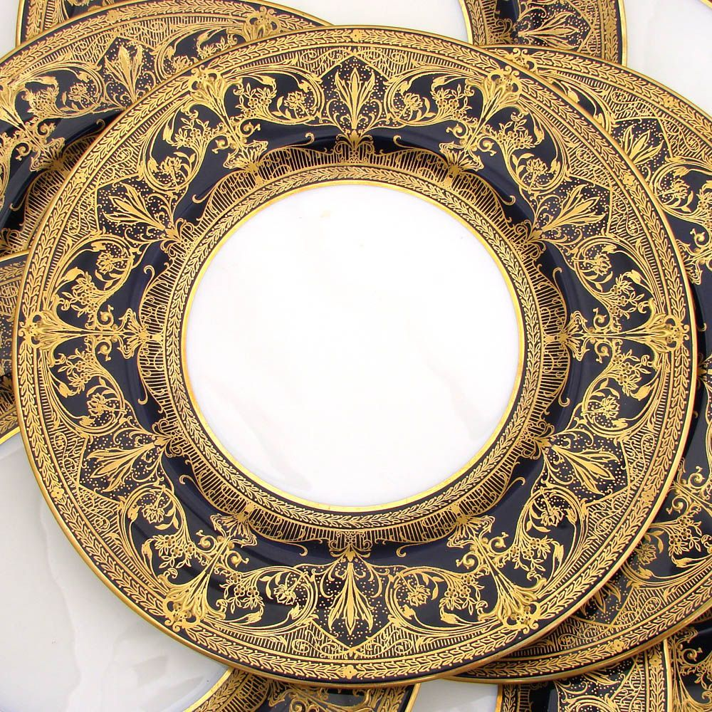 *Fine raised gold dinner plates 1930 Royal Worcester gold on cobalt blue & Fine raised gold dinner plates 1930 Royal Worcester gold on cobalt ...