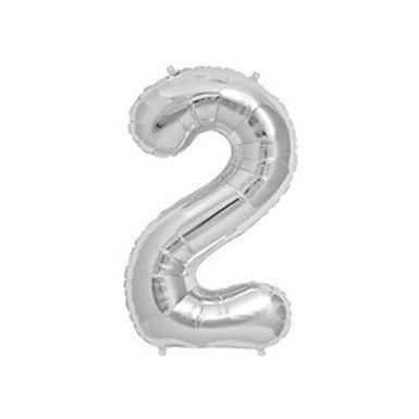 "40"" Silver Mylar Number 2 Balloon"