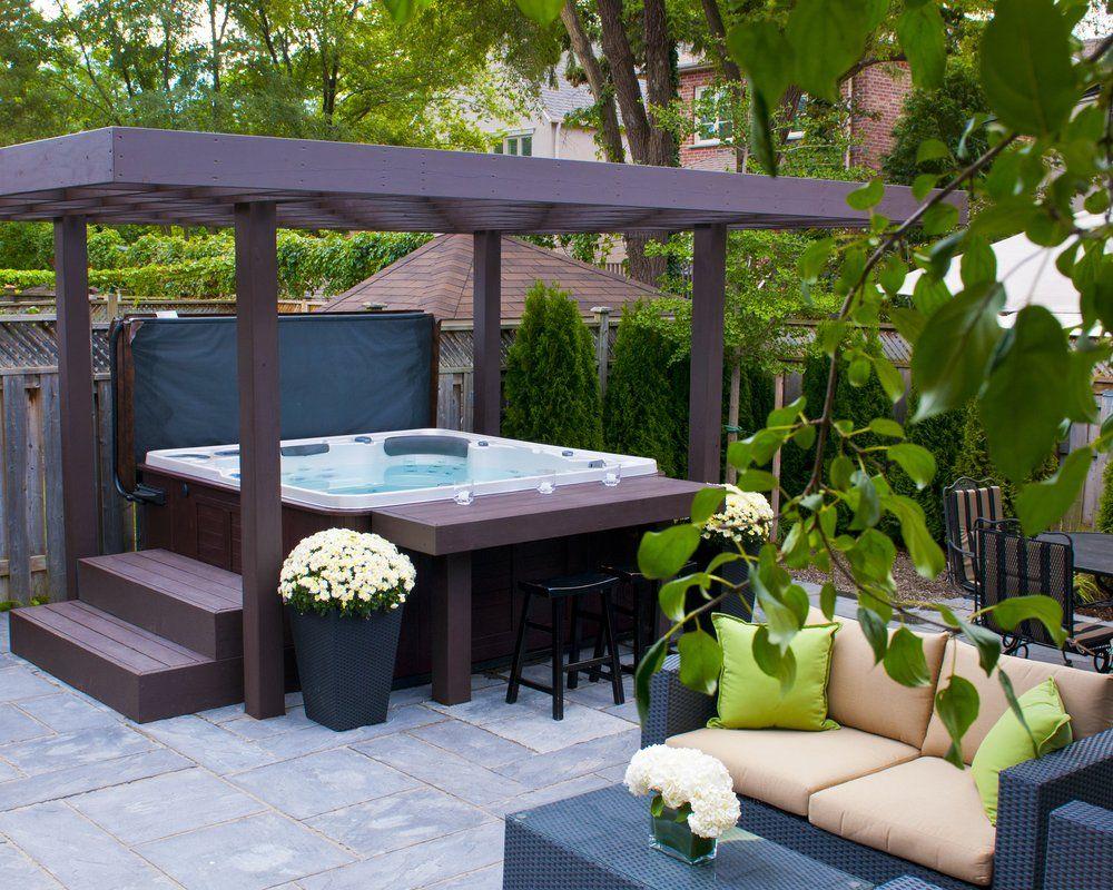 Backyard Retreat Home Leisure Photos Hot Tub Patio Hot Tub Garden Hot Tub Landscaping Modern patio with hot tub