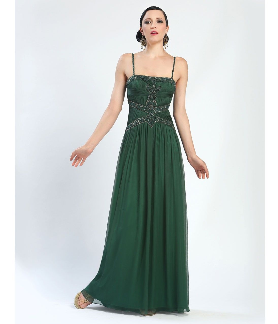 Forest Green Embroidered & Beaded Spaghetti Strap Long Dress