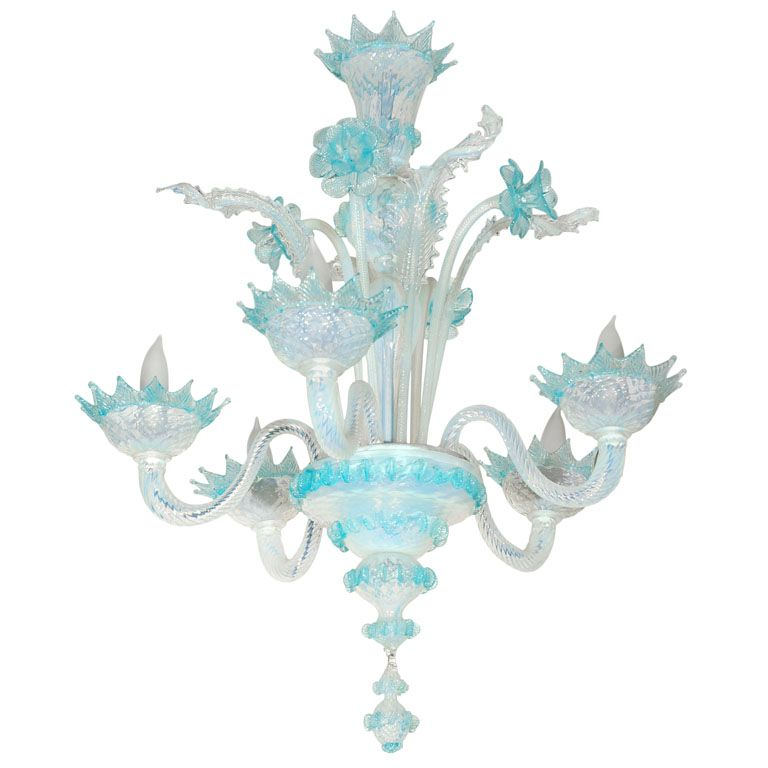 Vintage Light Blue And Clear Murano Glass Chandelier At 1stdibs