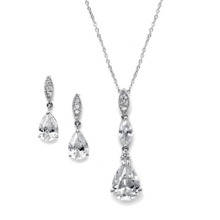 Bridal Necklace Set with Pave Top & Cubic Zirconia Pears $43.95 www.nuptialsboutique.com #bride #brides #wedding #weddings #weddingjewelry #jewelry #bridal jewelry #bridesmaidsgifts #earrings #silver #diamond #necklace