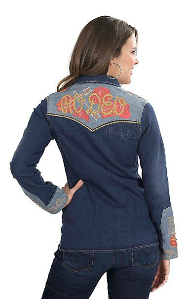9855dfb089 Wrangler with Rodeo Quincy Women s Dark Wash Denim with Floral Screen Print  Long Sleeve Western Snap Shirt