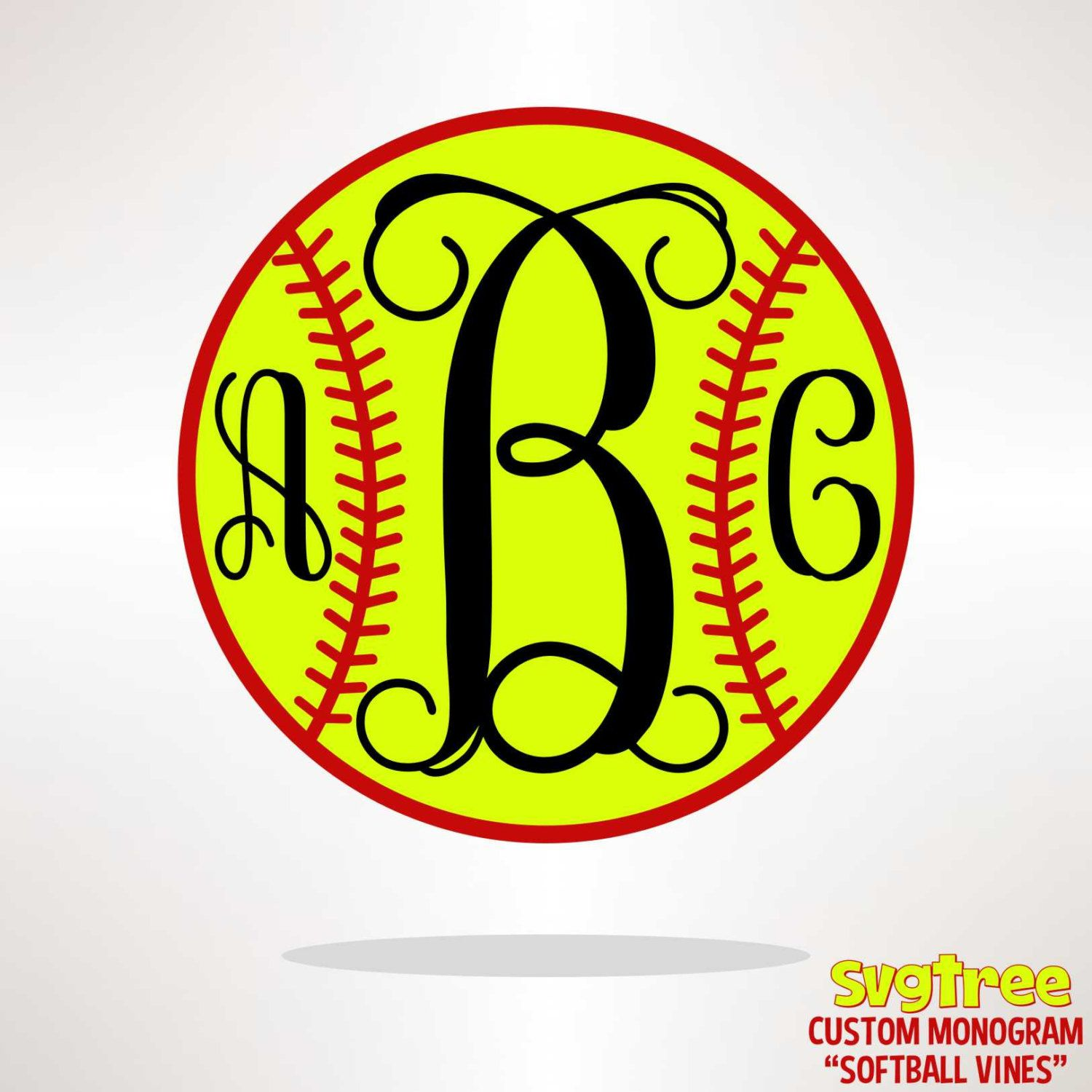 Personalized Monogram Softball svg dxf pdf Vector Art by