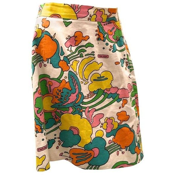 Preowned Rare Peter Max Original Vintage Skirt featuring polyvore, women's fashion, clothing, skirts, beige, vintage print skirt, flower skirt, long patterned skirt, flower print skirt and long beige skirt