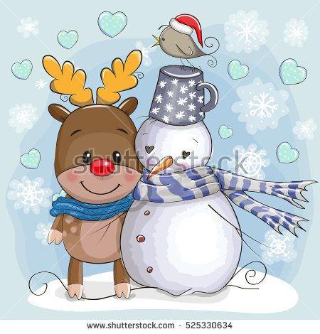Christmas Card Cute的圖片搜尋結果 Christmas Deer Christmas Art Christmas Cartoons