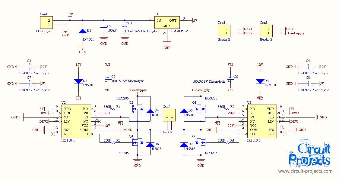 Full Bridge Inverter with MOSFET and IR2110 gate driver | Circuit