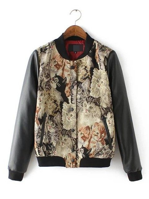 Fashion Kitten Printed Stitching Leather Jacket with Long Sleeves