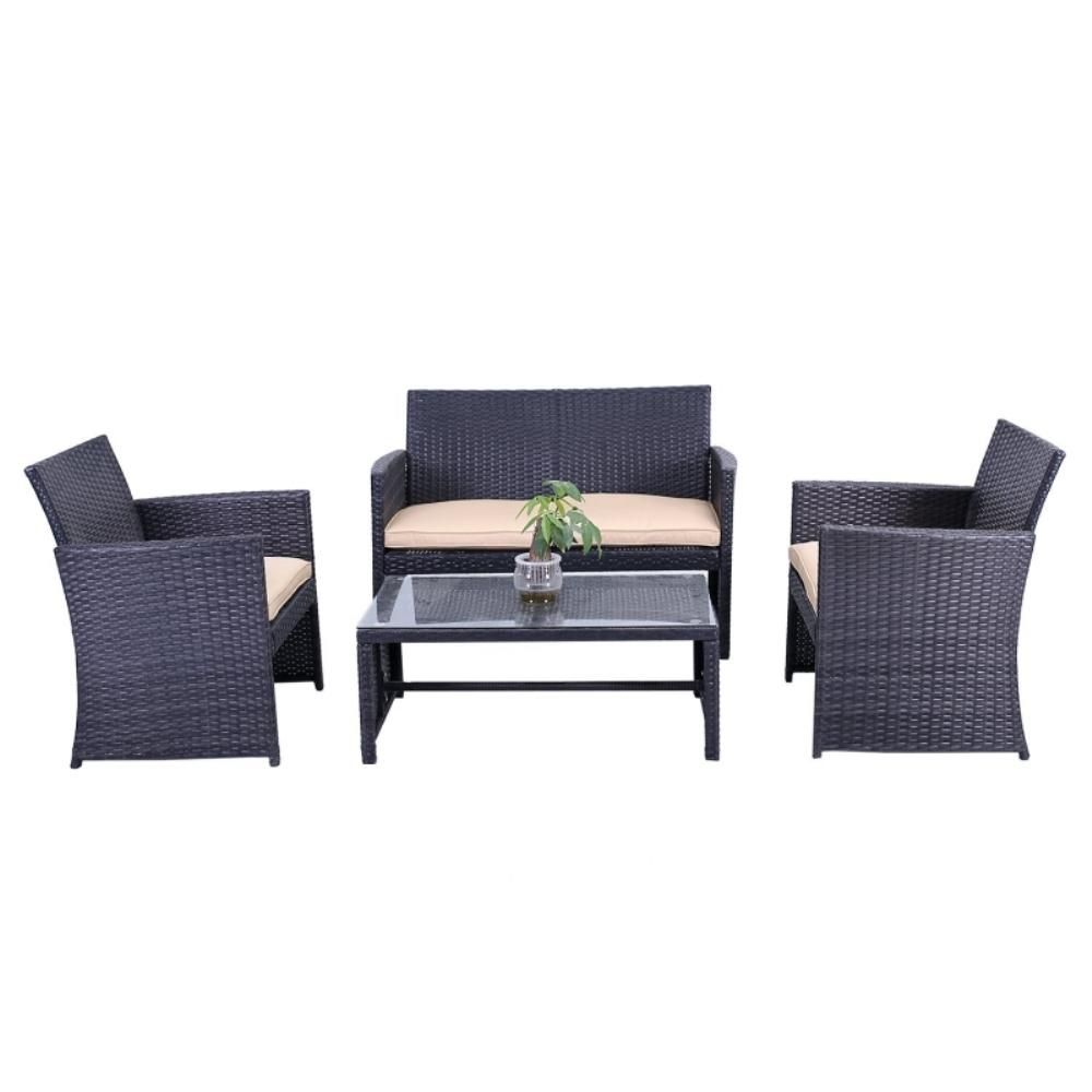 Aleko Seattle 4 Piece Rattan Furniture Set With Cream Cushions Rtcrm07blk Hd Pool Patio Furniture Indoor Outdoor Furniture Furniture