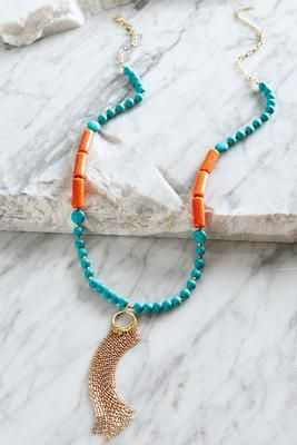 Versona Long stone tassel necklace #Versona
