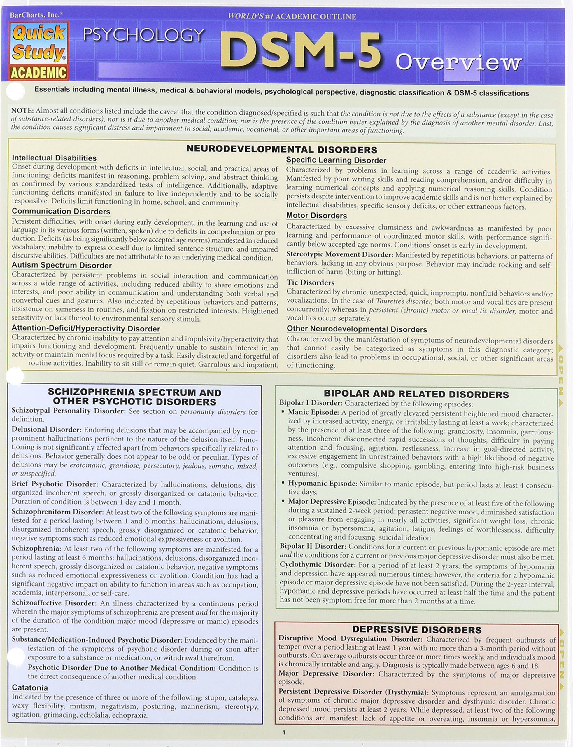 Dsm 5 Overview Quick Study Academic