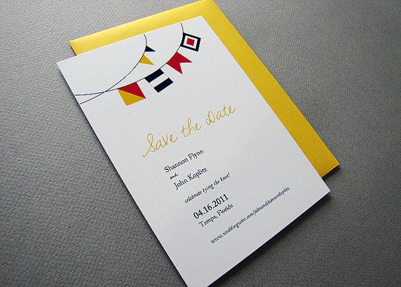 Nautical Flags Save the Date or Shower Invite by wickedbride, $100.00