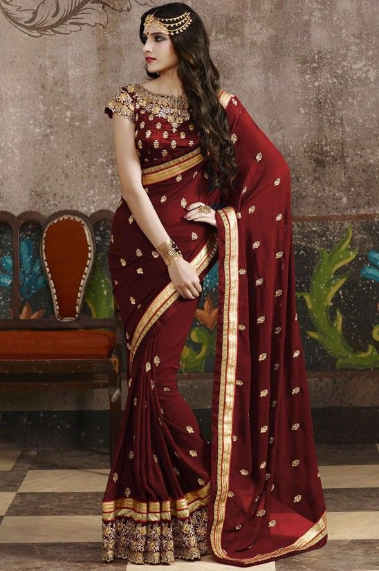 1601ba26a1035 Magnificent Maroon Saree | Bridal (Wedding) Sarees | Saree, Maroon ...