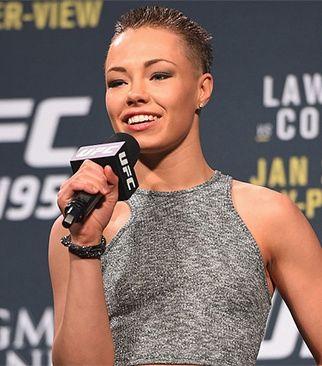 UFC fighter Rose Namajunas sporting a femme flattop ...