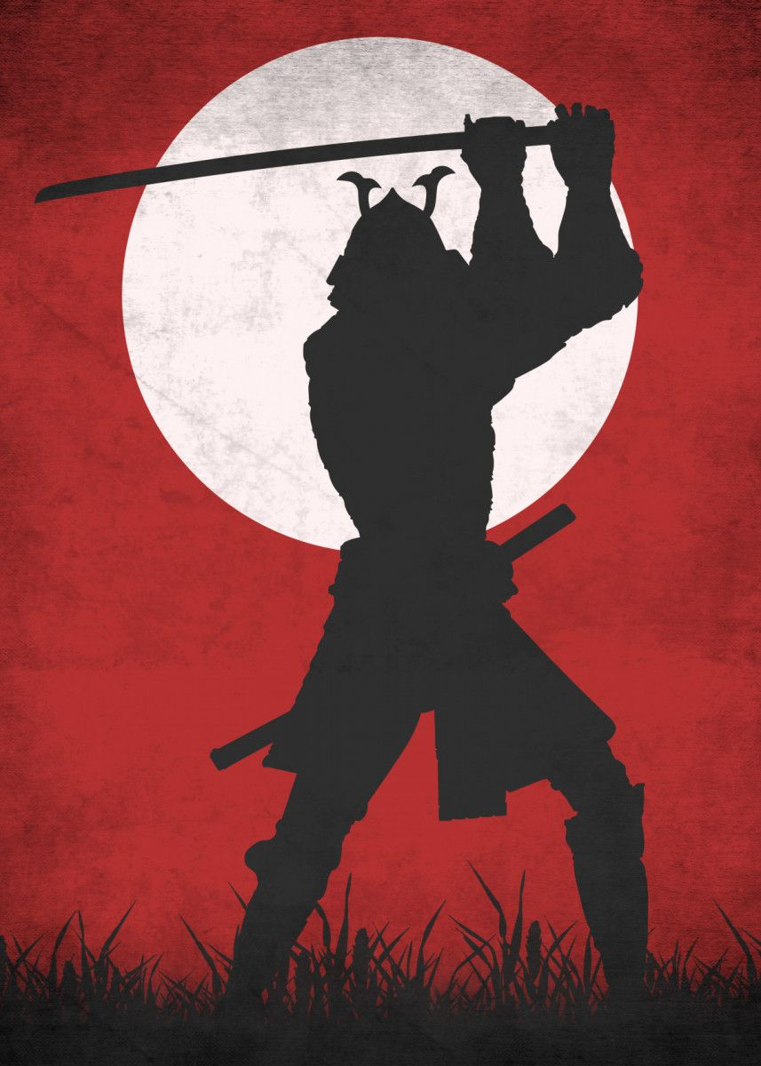 'Red Samurai' Metal Poster Print - Eternal Art | Displate