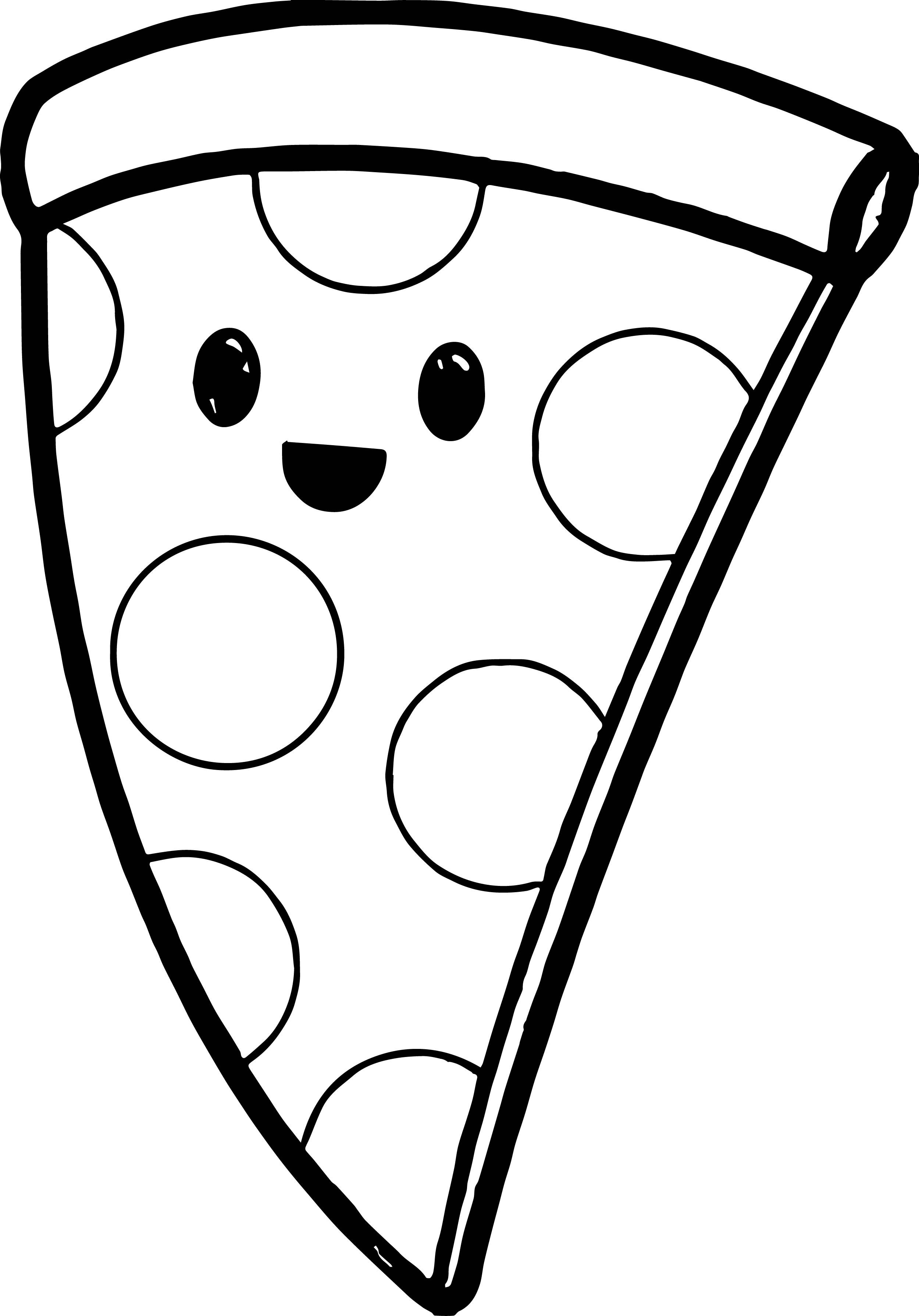 Nice Very Cute Pizza Coloring Page