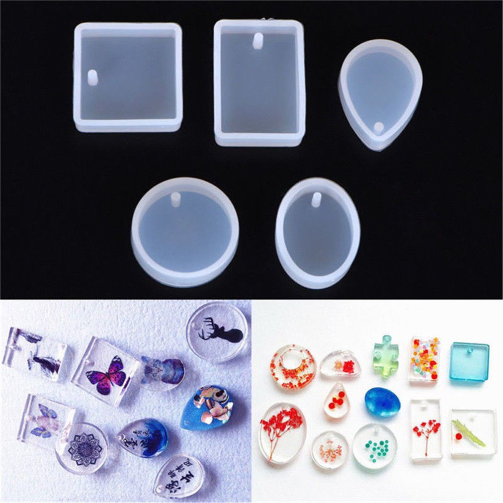 5pcs  Silicone Mould Set Craft Mold For Resin Necklace jewelry Pendant MakingV!