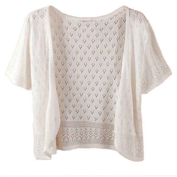 White Laser Cut Short Sleeve Open Front Cropped Cardigan (110 BRL ...