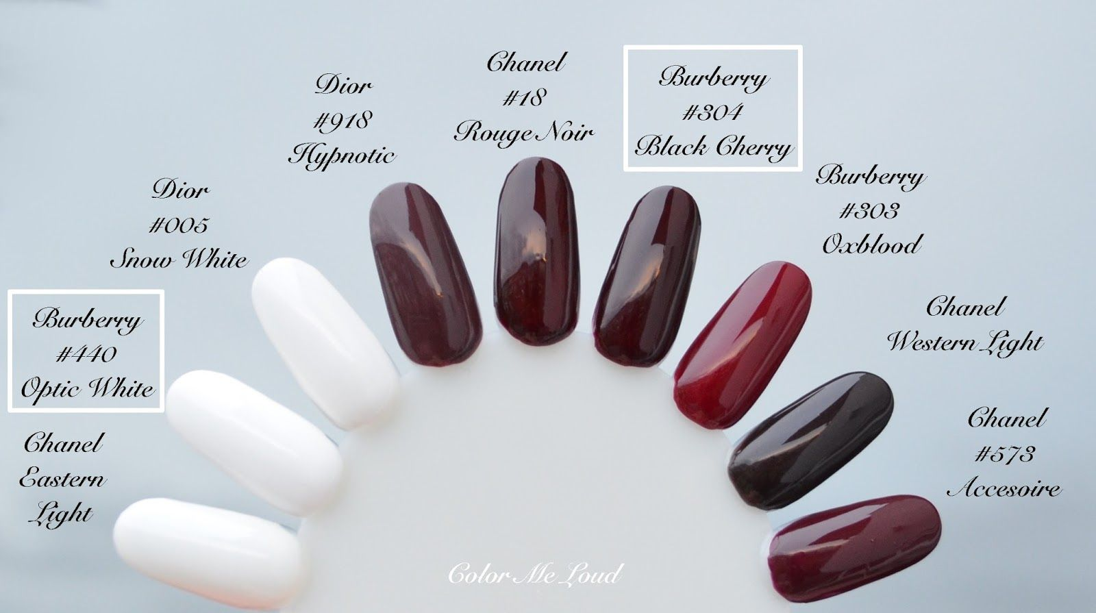 Burberry Nail Polish #440 Optic White, #304 Black Cherry for Spring ...