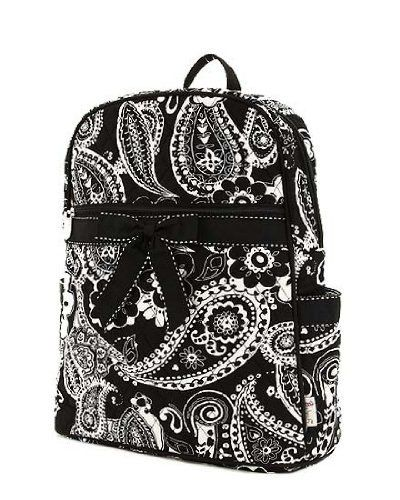eac3b672d9 Belvah Large Quilted Floral Paisley Backpack (Black White) Belvah.  29.95.  Front Zipper Pocket