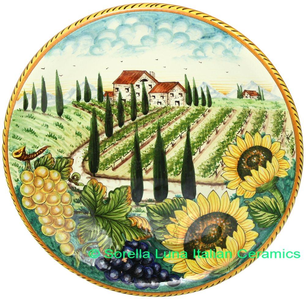 Italian Tuscany Majolica Ceramic Plate | 35cm. Decorative ...  sc 1 st  Pinterest & Italian Tuscany Majolica Ceramic Plate | 35cm | Italian Ceramics ...