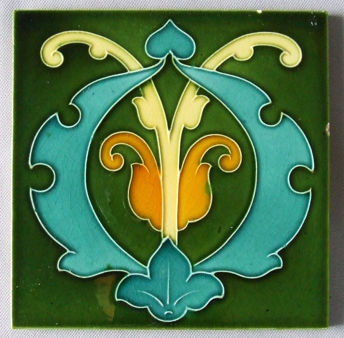 Antique english art nouveau tile arts and crafts green art antique english art nouveau tile arts and crafts green dailygadgetfo Gallery