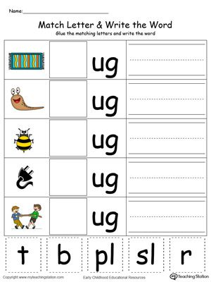 Ug Word Family Match Letter And Write The Word In Color  Phonics