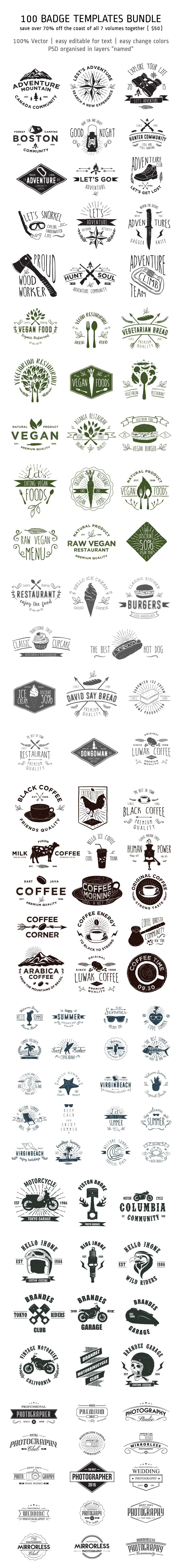 100 Badge Templates Bundle   Logotipos, Logos publicitarios y ...