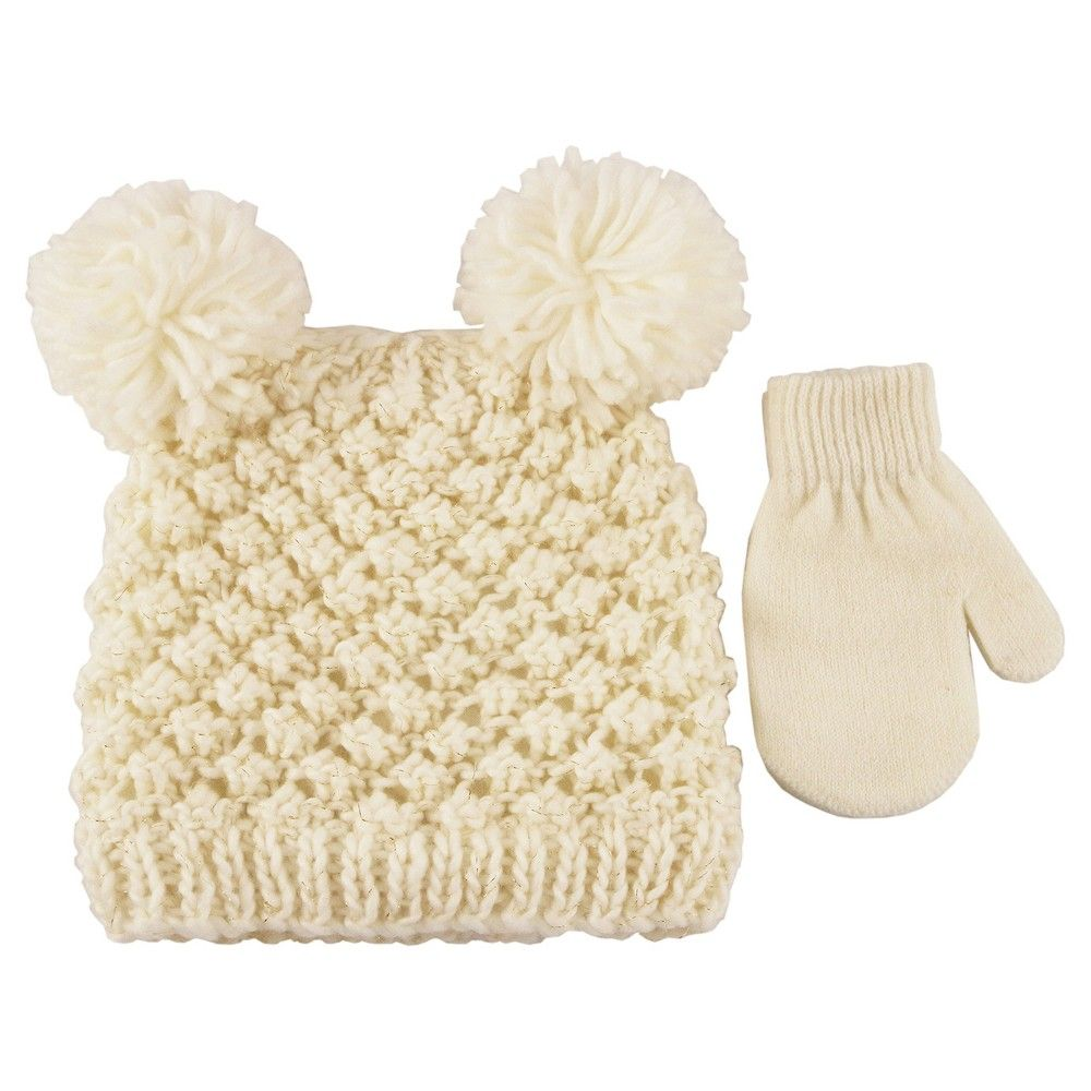 Girls  Double Pom Hat with Lurex and Mitten Set Cat   Jack - Almond Cream 835a2c312b86