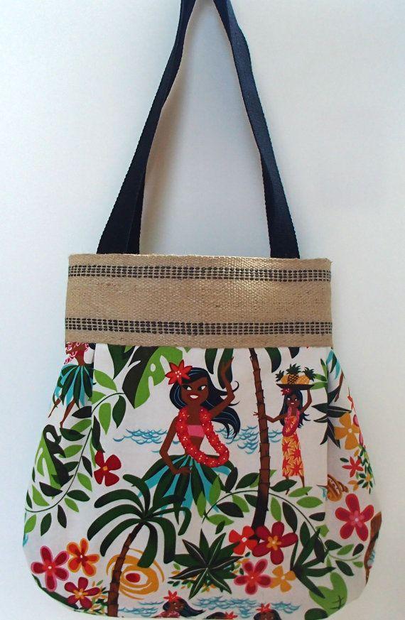 Hawaiian Girl Beach Tote - Beach Bag by crystalthreads on Etsy ...