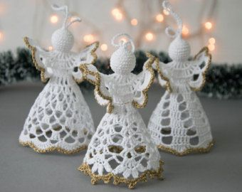 Crochet white angel Set of 3 Crochet Christmas angel Christmas ...