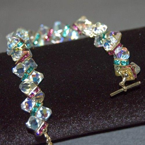 Swarovski Top Drilled Bicone Rasberry Parfait Crystal Bracelet