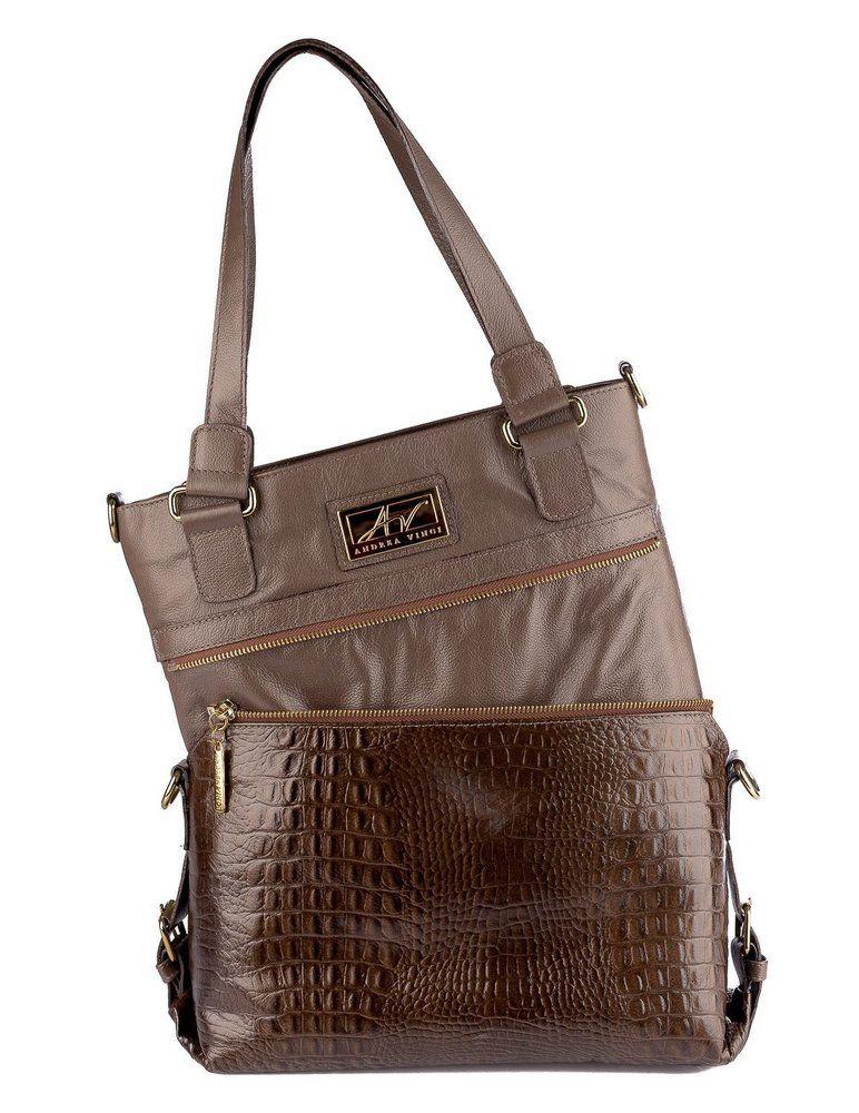 c2f4e3017 Bolsa duas em uma de couro Andrea Vinci chocolate - Enluaze Loja Virtual |  Bolsas,