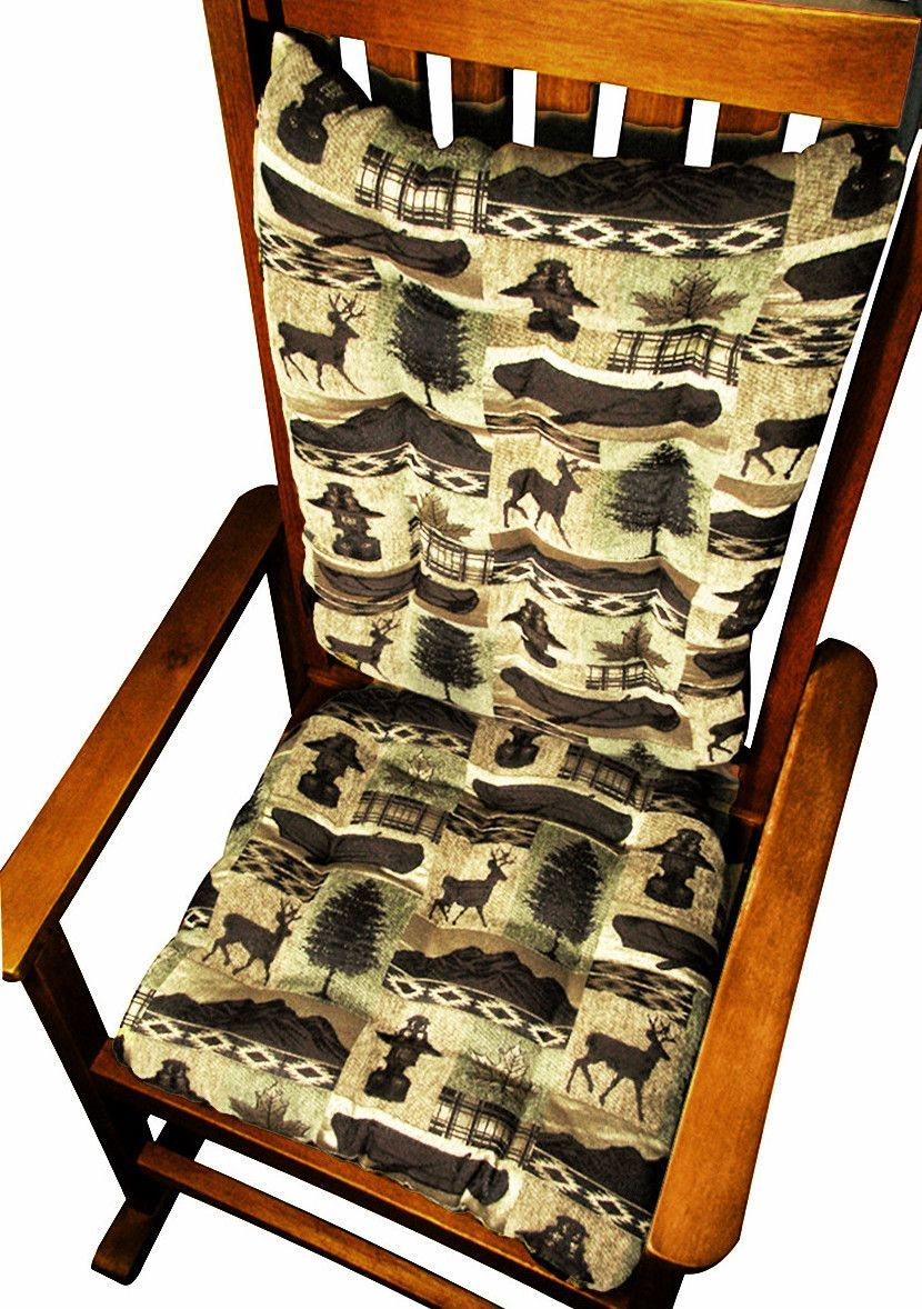 Rocking Chair Cushions   Woodlands Fargo   Standard Size   Seat And Back Chair  Pads With Ties   Tufted, Latex Foam Fill