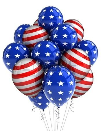 3a2afaa0dab American patriotic balloons in traditional colors over white Stock Photo