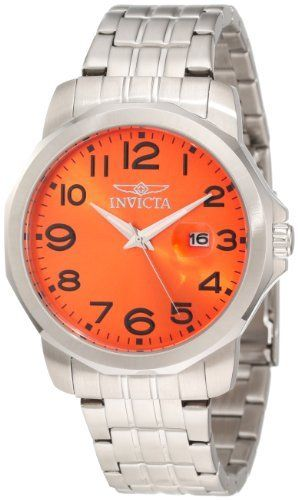 Invicta Men's 6862 II Collection Eagle Force Stainless Steel Watch Invicta. $64.99. Date function. Precise Japanese-quartz movement. Durable flame-fusion crystal; brushed and polished stainless steel case and bracelet. Orange dial with luminous hands and black arabic numerals; magnified date window. Water-resistant to 330 feet (100 M). Save 84% Off!