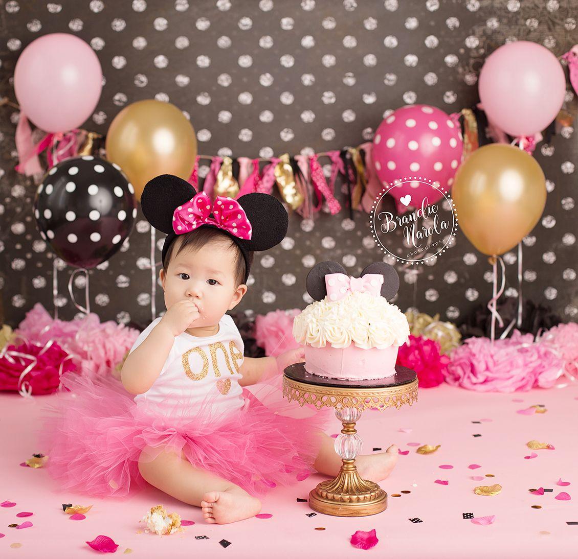 Cake Smash, Minnie Mouse Cake Smash, Minnie Cake Smash, Pink black ...
