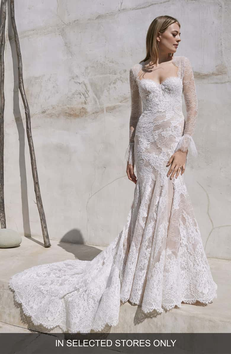 Free Shipping And Returns On Watters Crane Long Sleeve Lace Trumpet Wedding Dress At Nords In 2020 Trumpet Wedding Dress Lace Trumpet Wedding Dress Cheap Wedding Dress