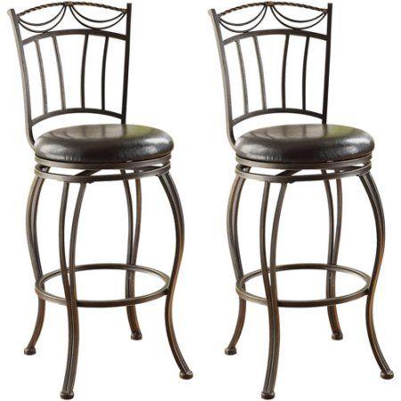 Acme Lima Swivel Bar Chair, Set of 2, Black