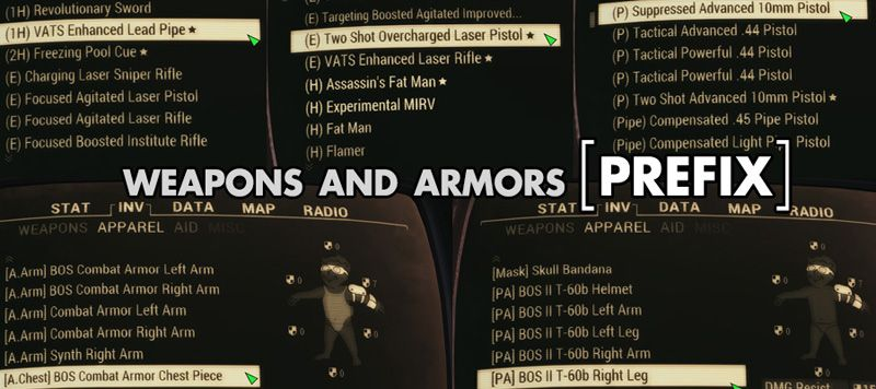 Weapons and Armors Prefix at Fallout 4 Nexus - Mods and community