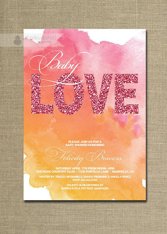 Watercolor Baby Shower Invitation Girl Pink Glitter Baby Love Modern