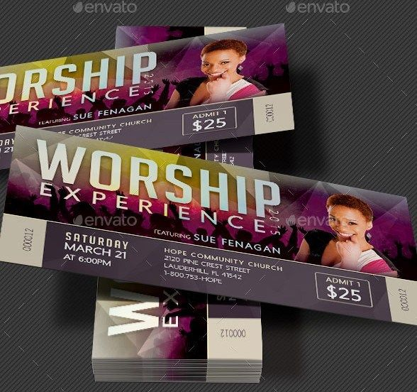 worship concert ticket template ticket design for my event