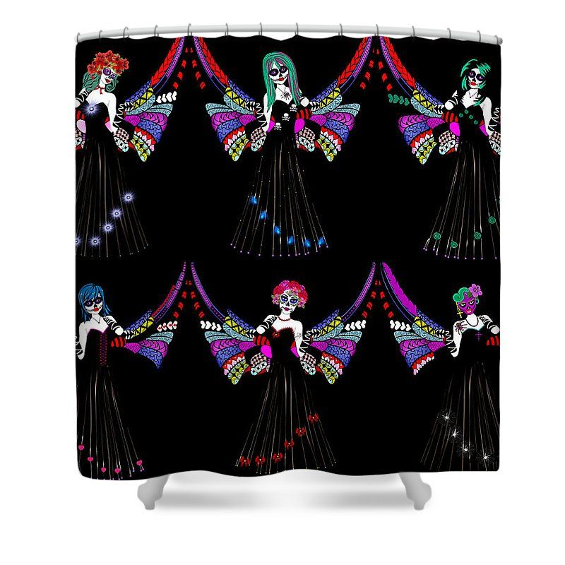 Day Of The Dead Shower Curtain Featuring Digital Art Angels By Angela Mikronis
