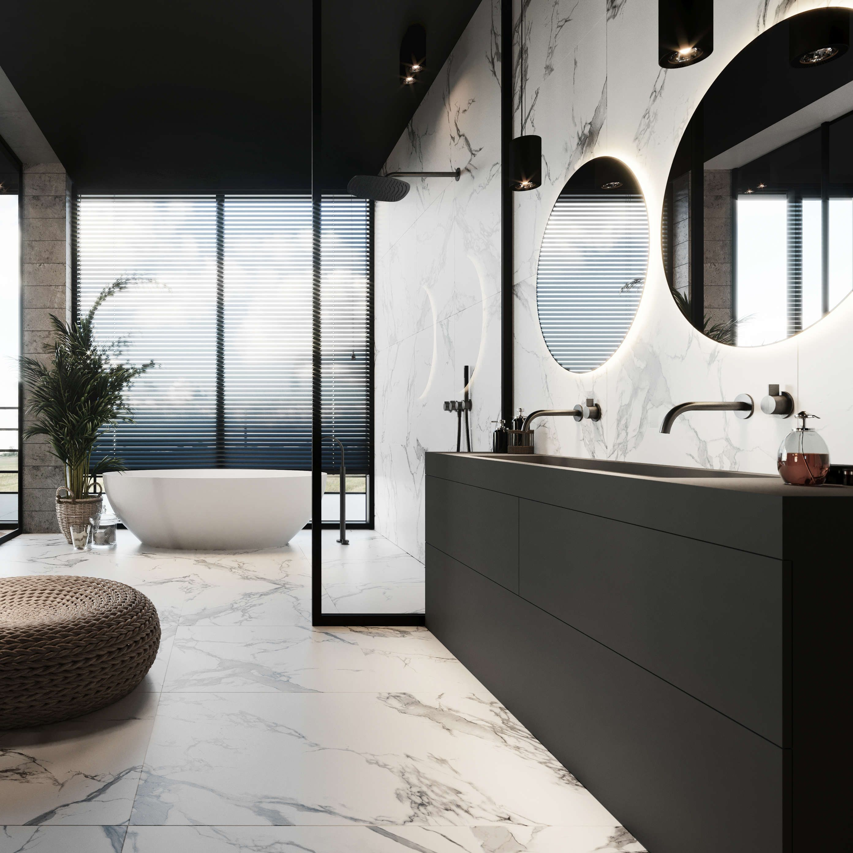 Marble bathroom from bycocoon black rain shower designer