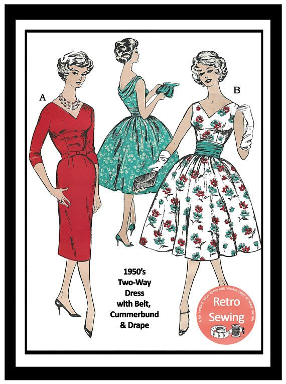 1950s Cocktail Dresses Sewing Pattern - 38 Bust - Rockabilly - Pin ...