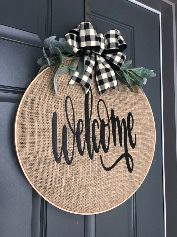 Photo of Wreaths for Front Door, Spring Wreaths for Front Door, Spring Wreath, Wreath for Front Door, Burlap Wreath, Hoop Wreath, Wreath