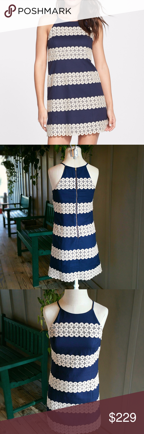 e3e381505e7 Lilly Pulitzer Annabelle Shift Dress Navy Stripe Annabelle  Lace Appliqué  Shift Dress by LILLY PULITZER