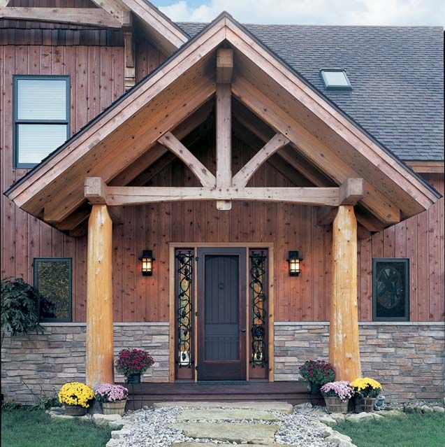 Timber Frame Entrance King Post Truss 2 Arts And Crafts